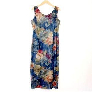Vintage floral maxi tank dress blue pink crinkle